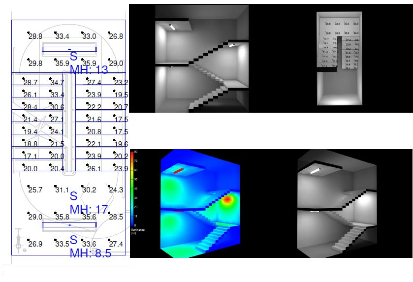 Photometric Drafting - Stairwell Design - Calcs & Render